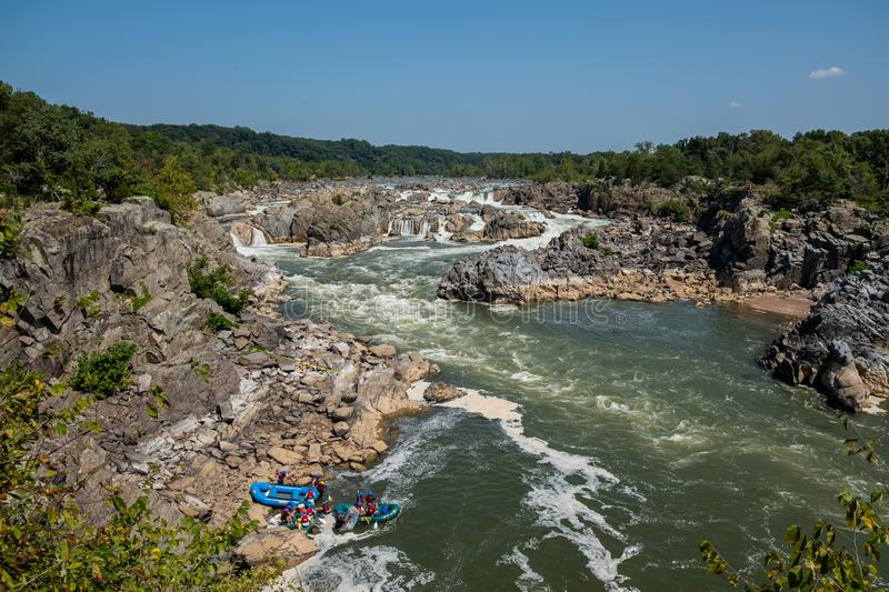Rafting on Great Falls State Park, Virginia. View of the Potomac River from Great Falls State Park in Virginia, United States of America. People are rafting the stock photography
