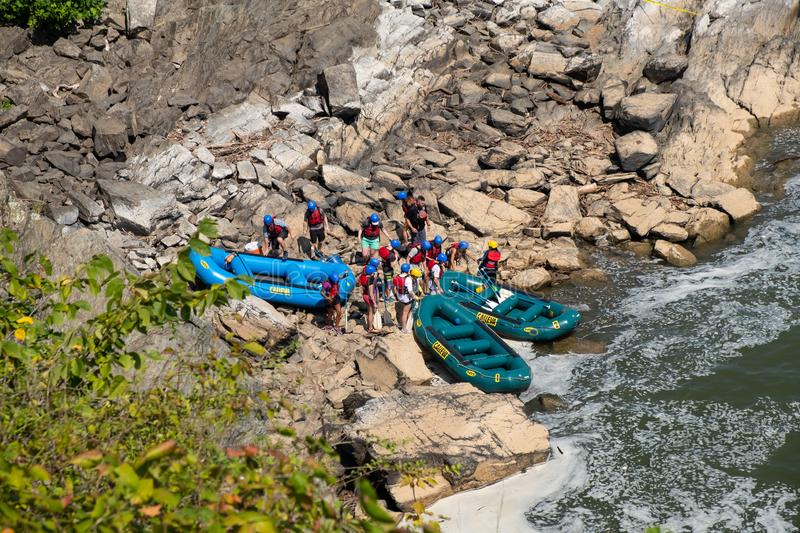 Rafting on Great Falls State Park, Virginia. View of the Potomac River from Great Falls State Park in Virginia, United States of America. People are rafting the stock photo