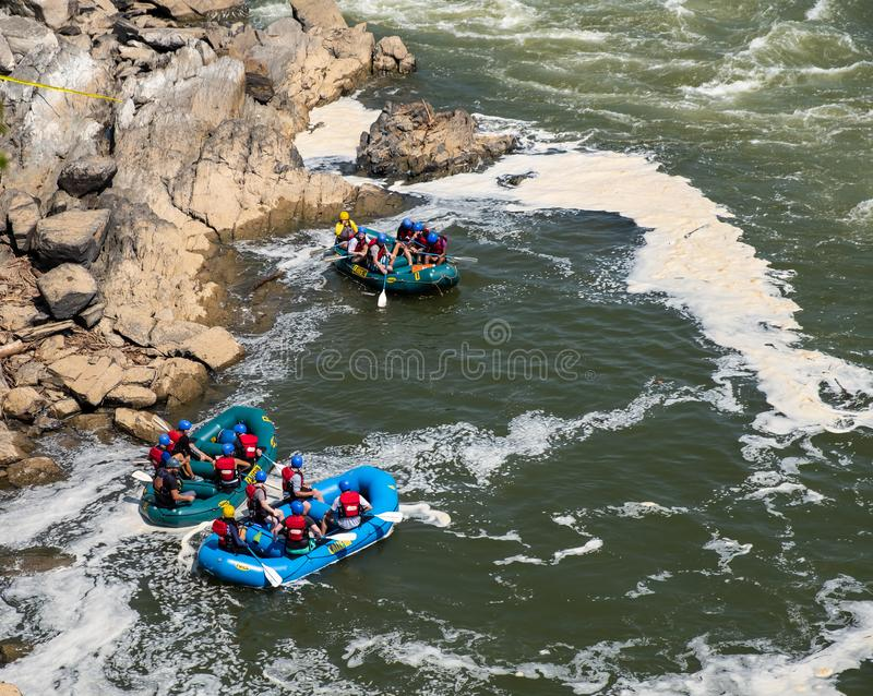 Rafting on Great Falls State Park, Virginia. View of the Potomac River from Great Falls State Park in Virginia, United States of America. People are rafting the royalty free stock photography