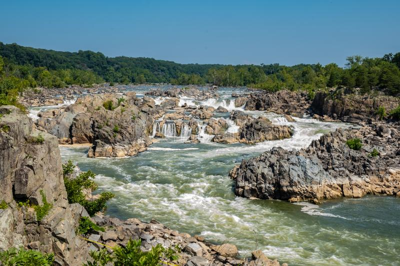 Potomac River, Great Falls State Park, Virginia. View of the Potomac River from Great Falls State Park in Virginia, United States of America royalty free stock photos