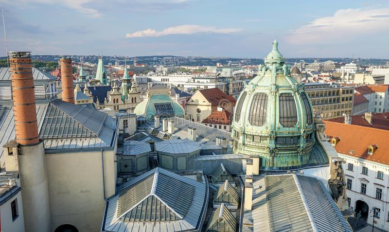 View from the Powder Tower to the Municipal and Representation House. And the rooftops of Prague stock photography