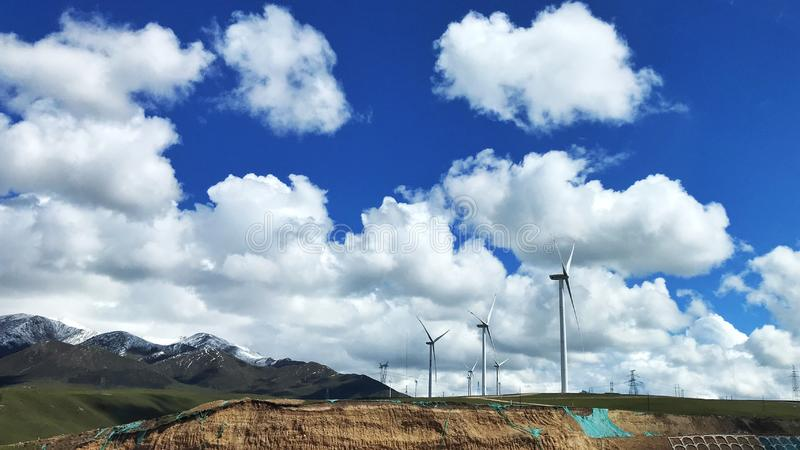 The view of the power generation windmills of Qinghai, located in the northwest of China.  royalty free stock photography