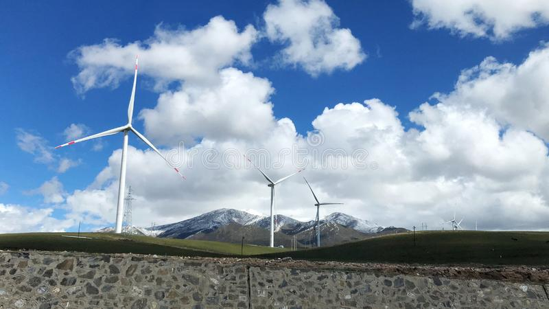 The view of the power generation windmills of Qinghai, located in the northwest of China.  stock photo