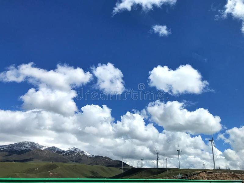 The view of the power generation windmills of Qinghai, located in the northwest of China.  royalty free stock photo