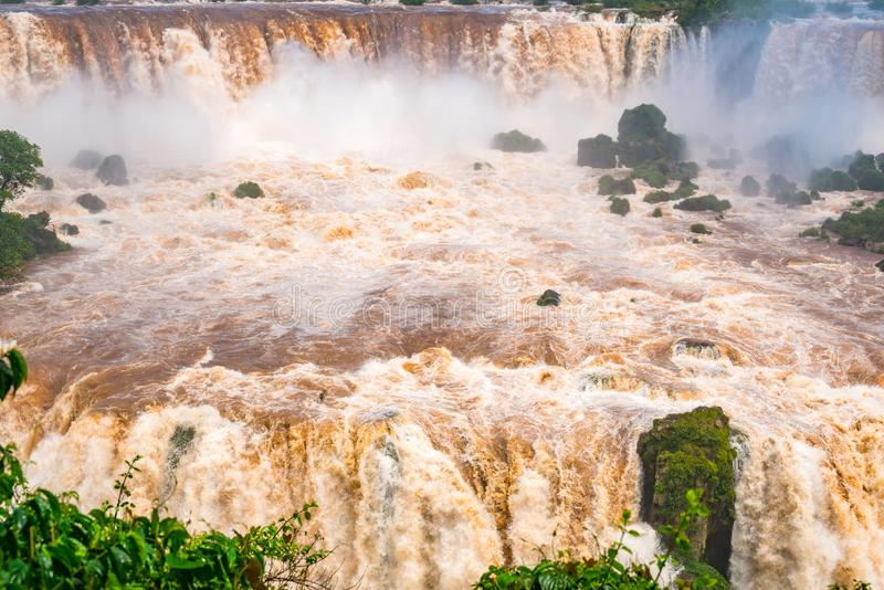 View of the powerful rapids of Iguazu River at the beautiful Iguazu Falls. In Brazil stock photo