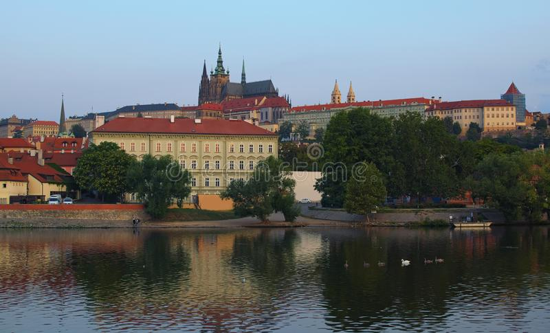 View of the Prague Castle with Saint Vitus Cathedral in the historic city center in Prague by the Vltava River with swimming swans stock photography