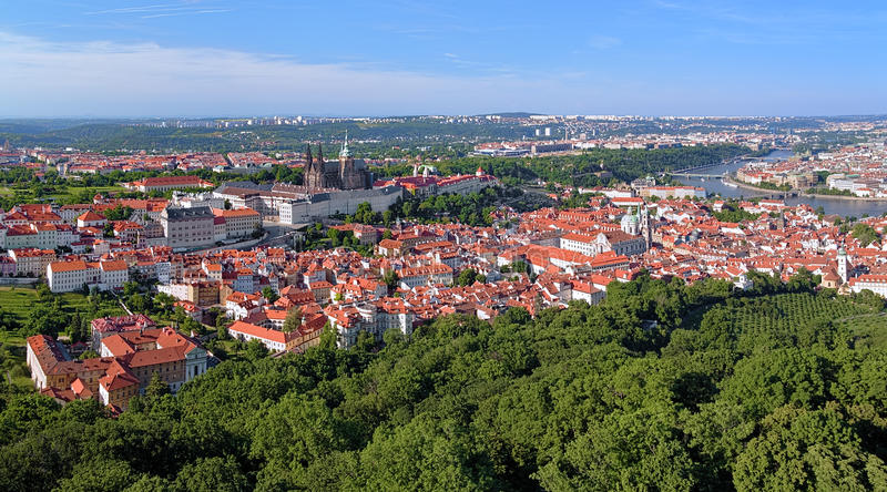 View of Prague Castle with St. Vitus Cathedral and Castle District stock photography