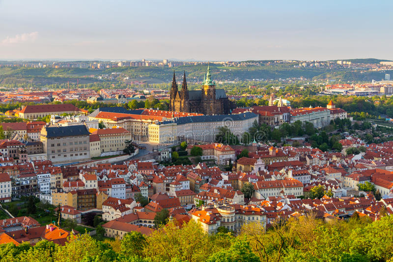 View of Prague Castle with St. Vitus Cathedral from Petrin Tower, Czech Republic.  royalty free stock photography