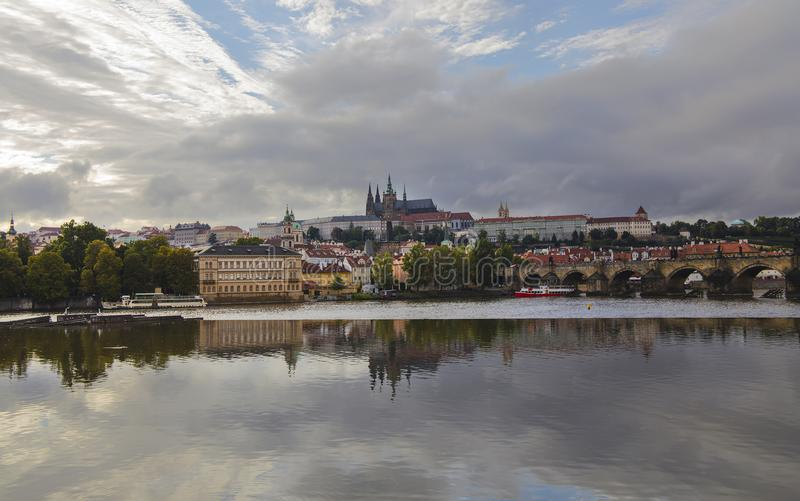 View of Prague old town and St Vitus Cathedral stock image