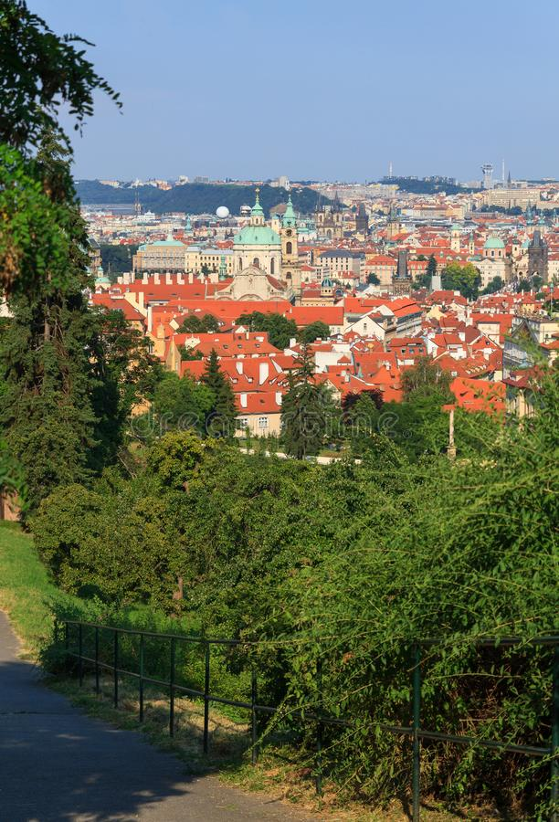 View of Prague with tile roofs. In summer time stock photos