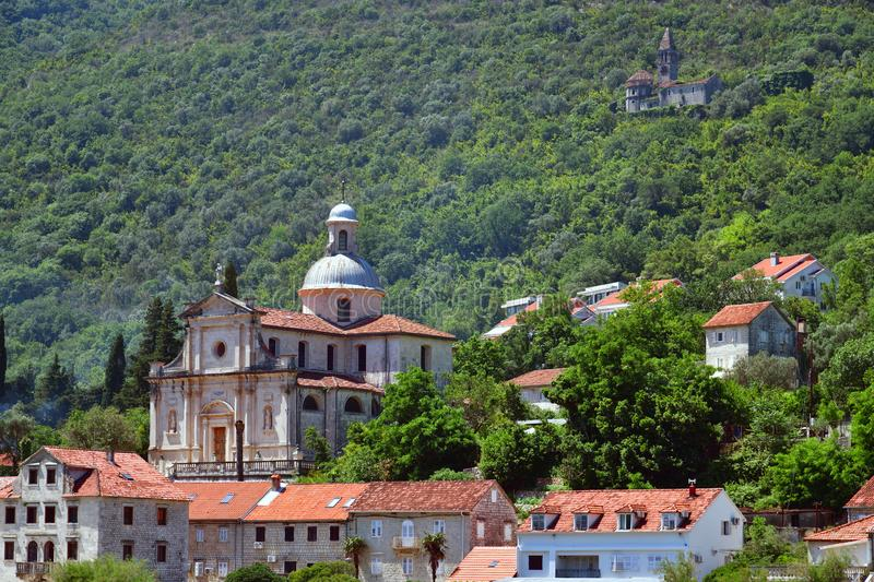 View of Prcanj city and Church of the Virgin Mary, Montenegro royalty free stock photos
