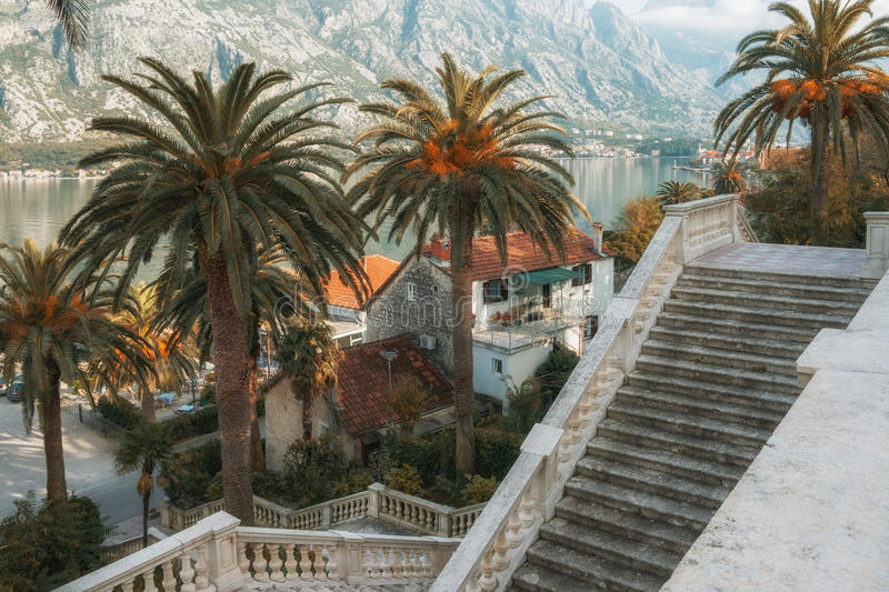 View of Prcanj city. Montenegro royalty free stock photo