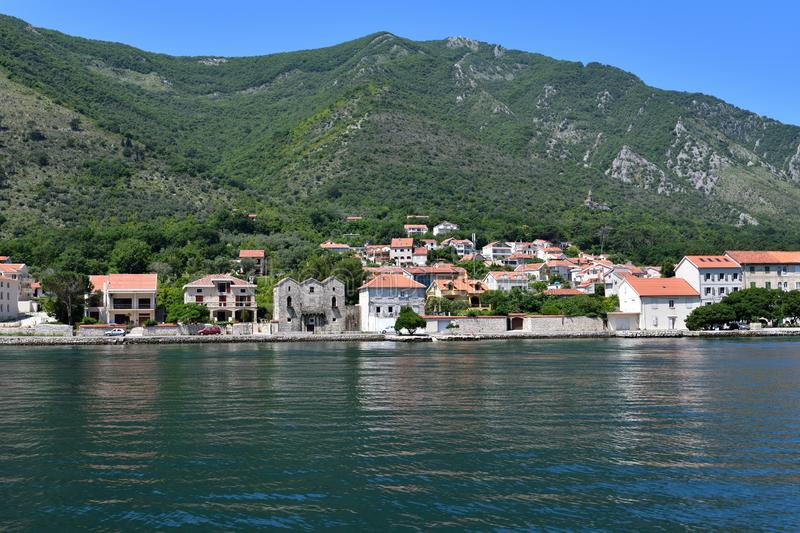 View of Prcanj from Kotor Bay, Montenegro stock photos