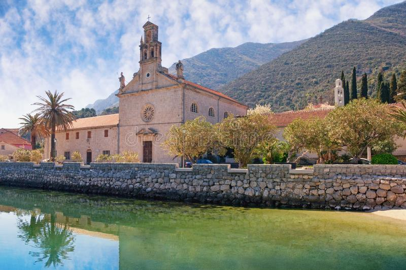 View of Prcanj town and St. Nicholas Church. Montenegro, Kotor Bay stock images