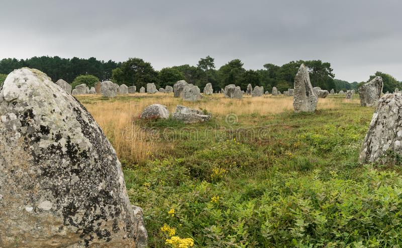 The prehistoric standing stone alignments of Carnac in Brittany royalty free stock images