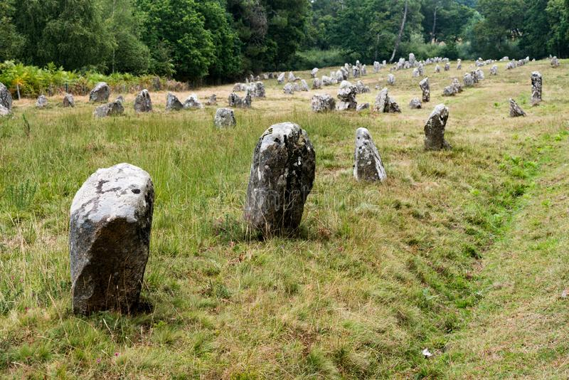 The prehistoric standing stone alignments of Carnac in Brittany stock photos