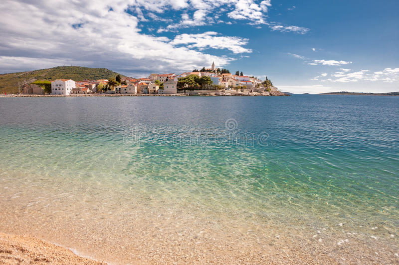 View of Primosten from the beach in Croatia royalty free stock image