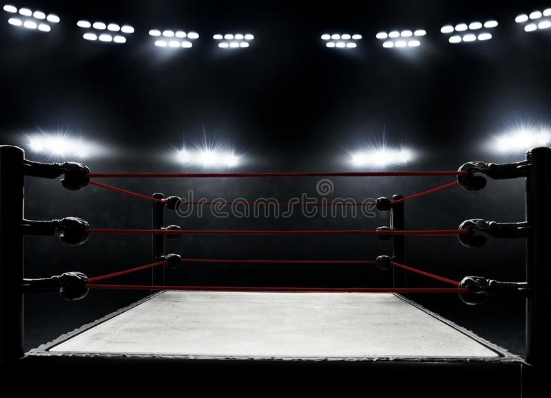 View of professional boxing rings stock photography