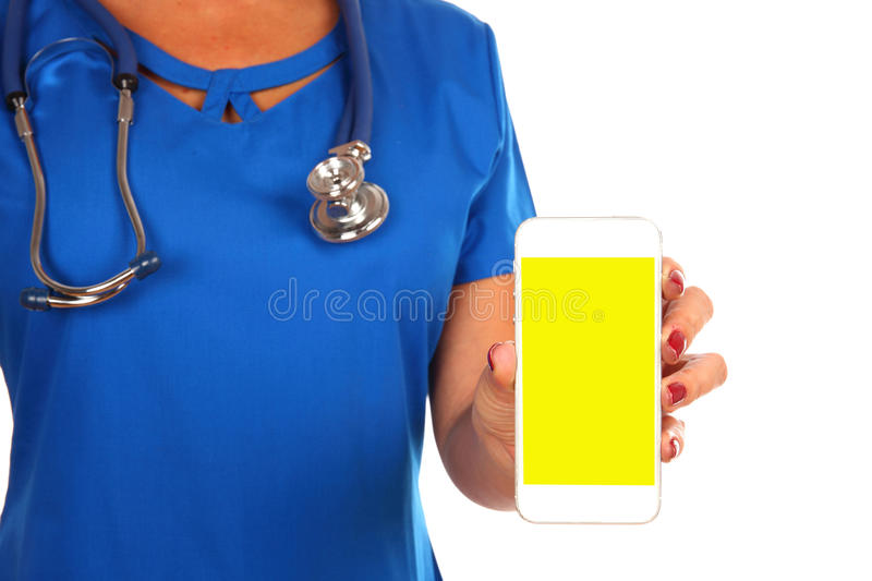 View of a Professional Doctor handing a blank smartphone isolate stock photo