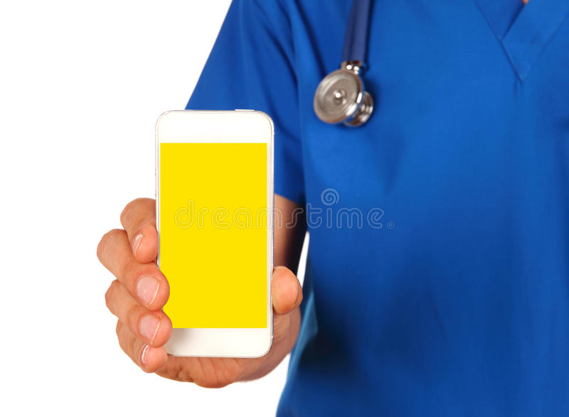 View of a Professional Doctor handing a blank smartphone isolate stock photos