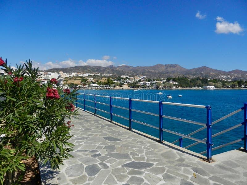 View of Promenade and Mirabello bay Agios Nikolaos Crete. royalty free stock images