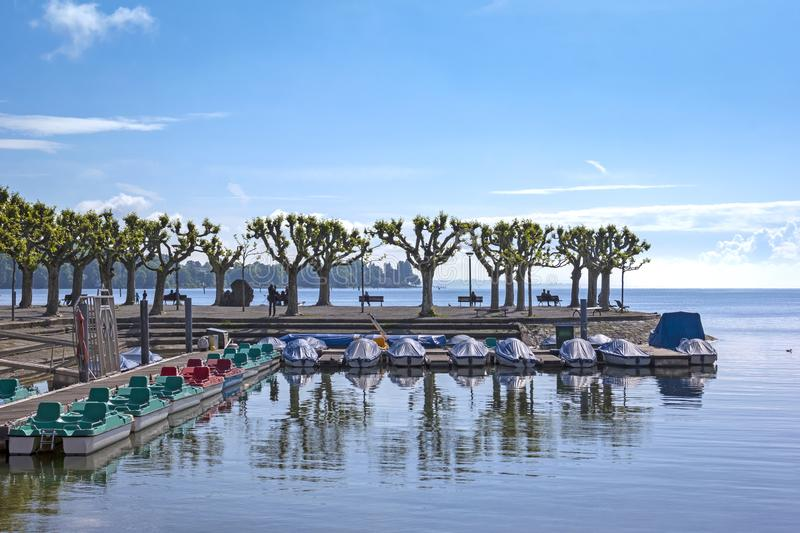 View of the promenade in the old harbor of Konstanz royalty free stock image