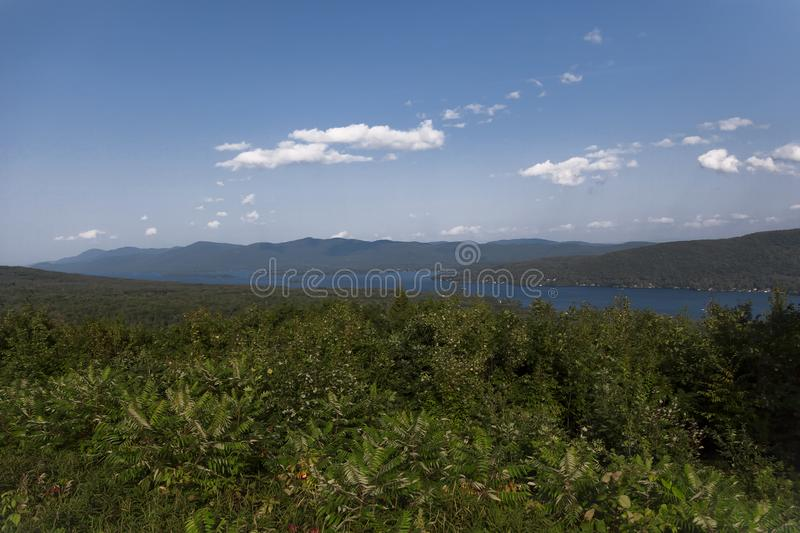 View of Prospect Mountain in Lake George. View of Prospect Mountain off to the side viewing area in Lake George New York stock photo