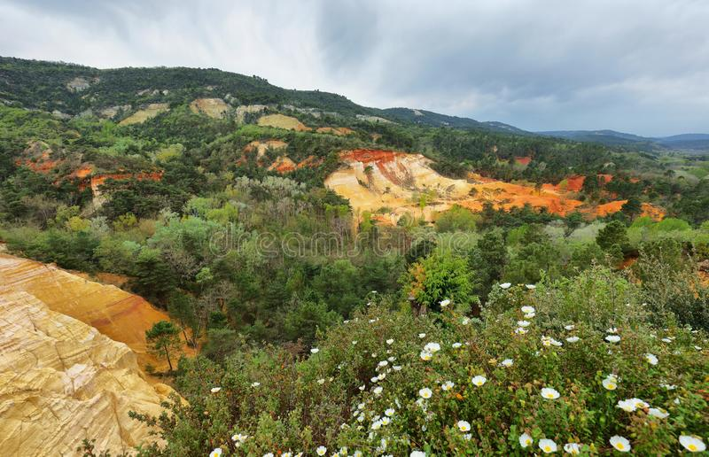 View of The Provencal Colorado - Provence, France. View of The Provencal Colorado in Provence region, France stock photo