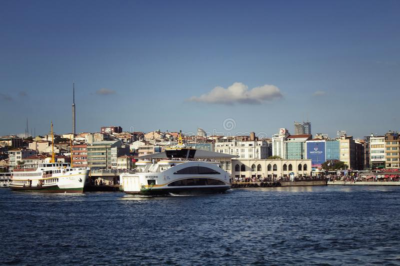 View of public ferry boats at Kadikoy. Pier station on the Asian side of Istanbul. It is a sunny summer day royalty free stock images