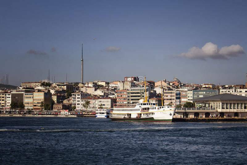 View of public ferry boats at Kadikoy. Pier station on the Asian side of Istanbul. It is a sunny summer day stock photo