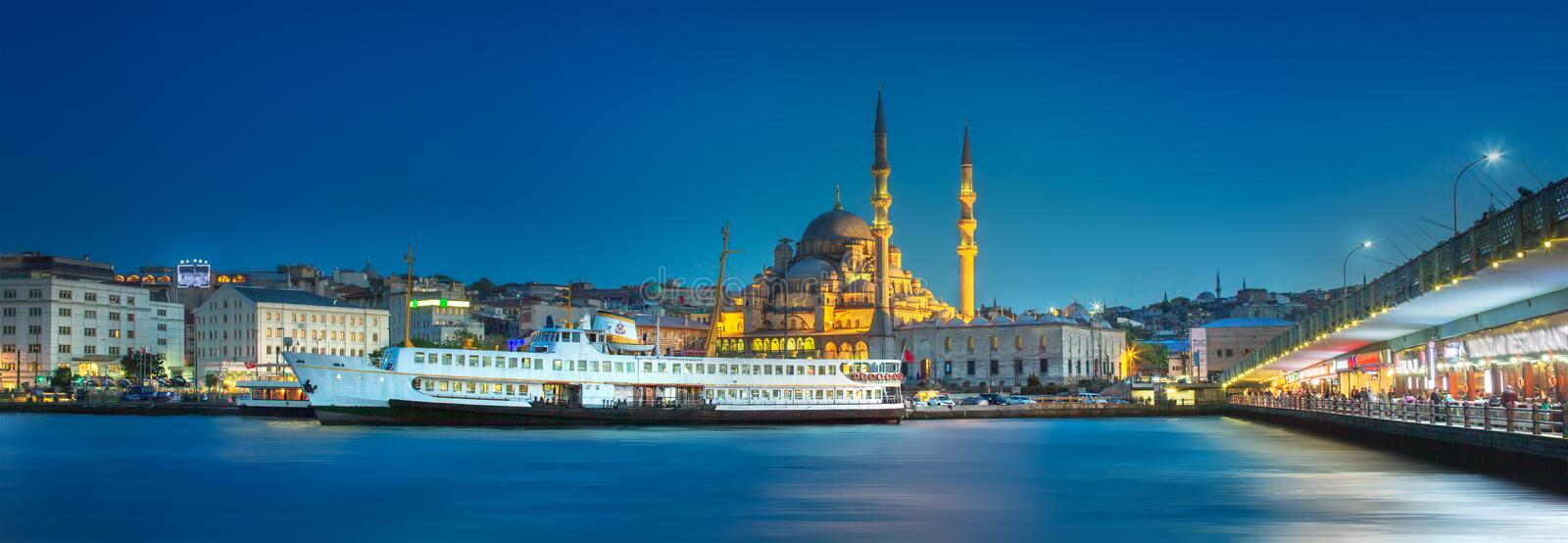 View of public ferry and old district of Istanbul. View of pier, public ferry and old district of Istanbul with Mosque on skyline, Turkey. Clipping path of sky royalty free stock photo