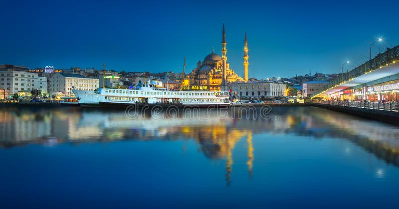 View of public ferry and old district of Istanbul. View of pier, public ferry and old district of Istanbul with Mosque on skyline, Turkey. Clipping path of sky royalty free stock photos