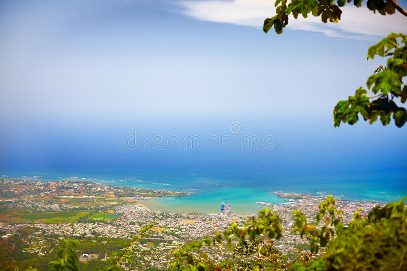 View on Puerto Plata city from the top of Pico Isabel de Torres. Aerial view on Puerto Plata city from the top of Pico Isabel de Torres stock photography