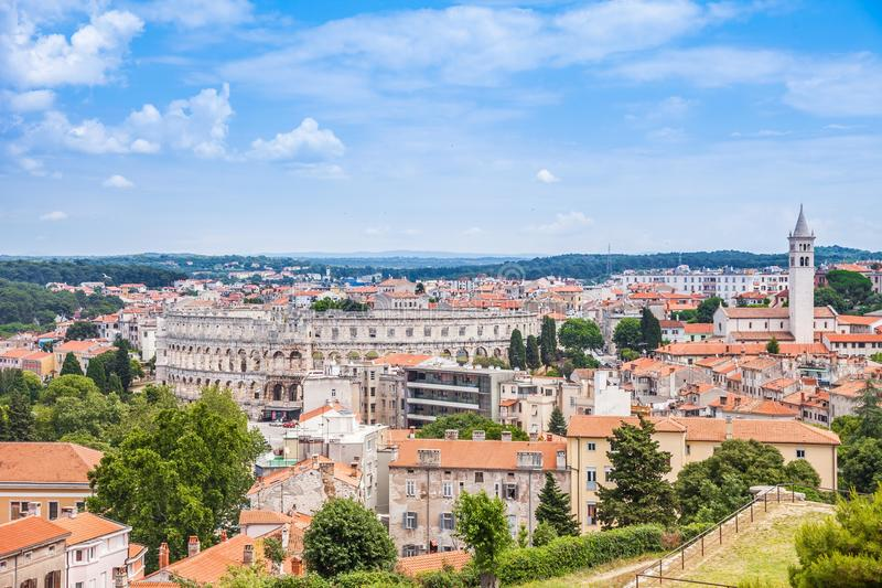 View of Pula Roman Colosseum in Croatia. Clouse up view of Roman Colosseum and Historic Center of Pula City from the Venetian Fortress Pula Castle in Croatia stock image