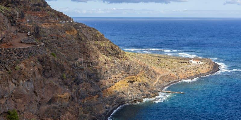 View of Punta Llana, where is the Ermita de Nuestra Señora de Guadalupe at La Gomera, Canary Islands. Spain royalty free stock photo
