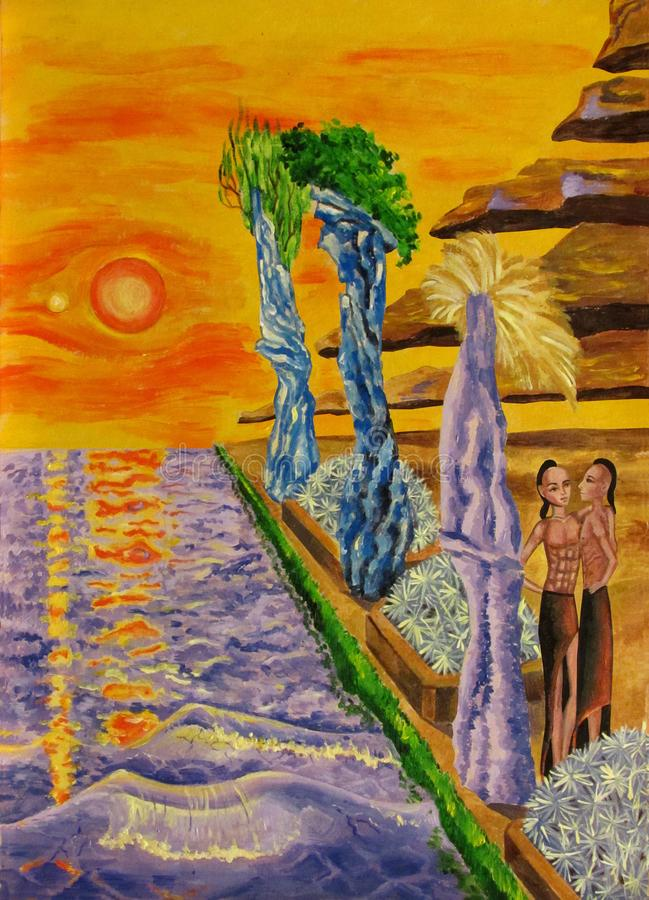 View of the purple sea at sunset two suns with flying mountains and crystal rocks, as well as two guys and flowerbeds stock illustration