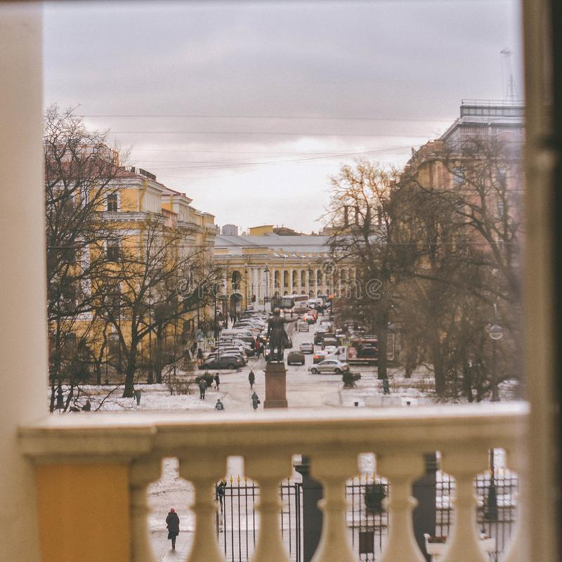 View on the Pushkin monument stock photos