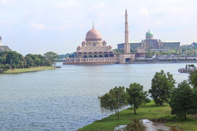 A view of Putra Mosque Masjid Putra, the principal mosque of Putrajaya, Malaysia royalty free stock images