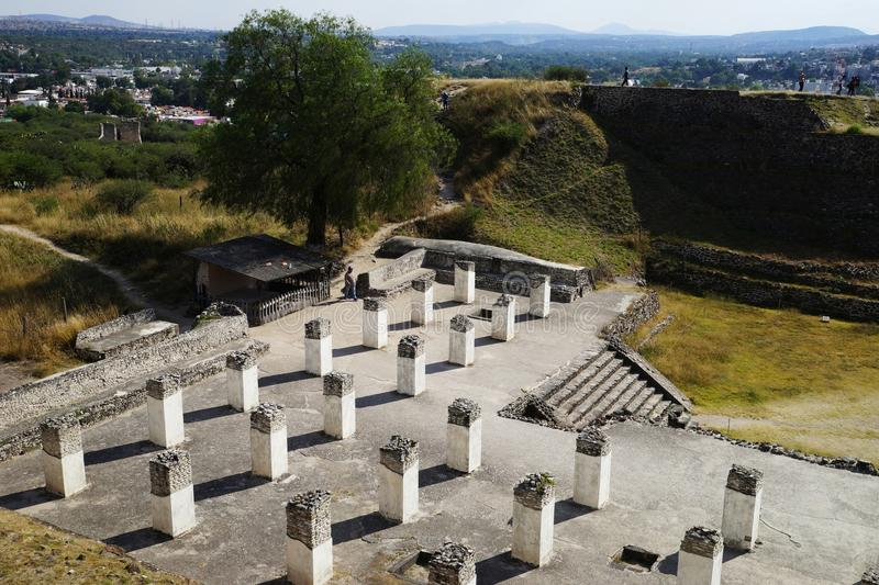 View from Pyramid B toward Pyramid C, Tula archaeological site, Mexico royalty free stock photo