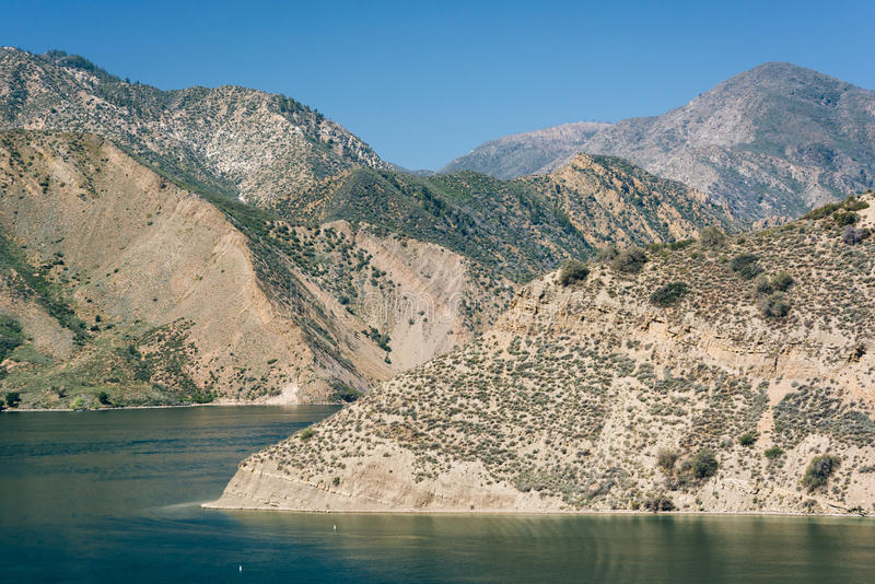 View of Pyramid Lake, in Angeles National Forest, California. stock photography