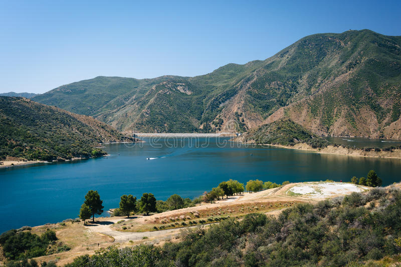 View of Pyramid Lake, in Angeles National Forest, California. royalty free stock images