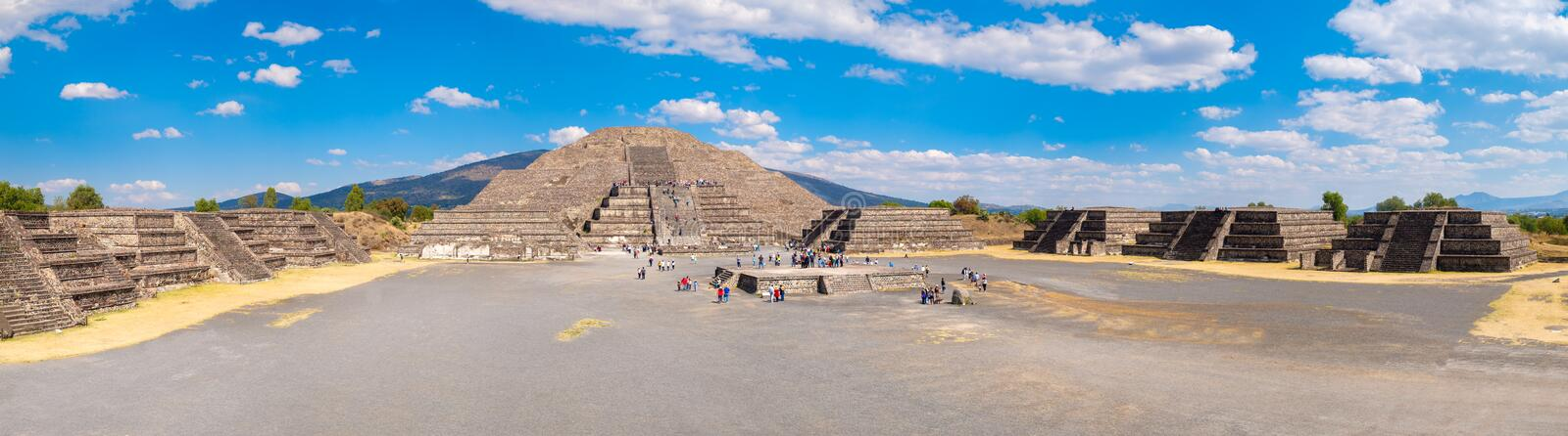 View of the Pyramid of the Moon and the Plaza of the Moon at Teotihuacan in Mexico. High resolution panoramic view of the Pyramid of the Moon and the Plaza of stock image