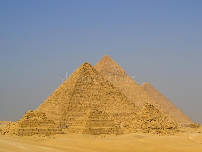 Pyramids of Giza, Egypt. View of the Pyramids of Giza from the panoramic view point. In Cairo, Egypt stock images