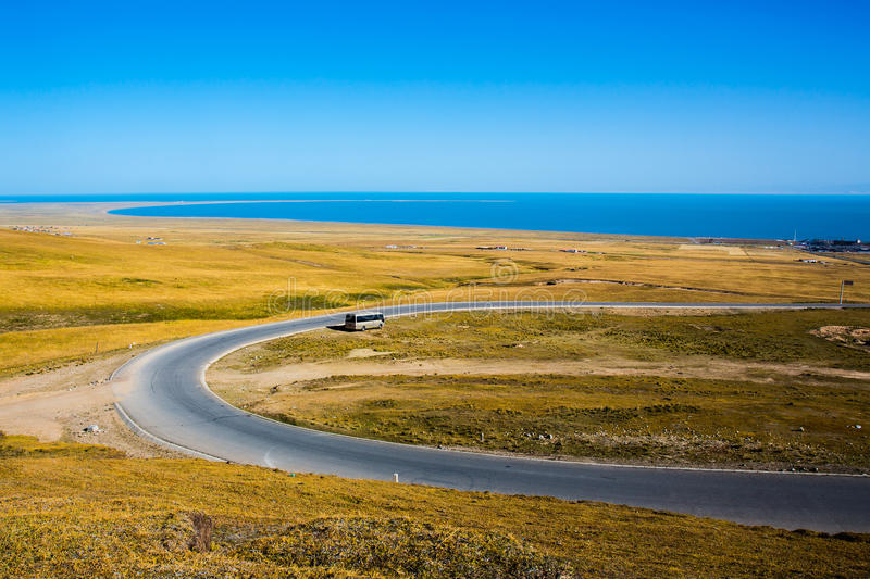 View of Qinghai lake. From a small mountain, at Qinghai province, China stock image