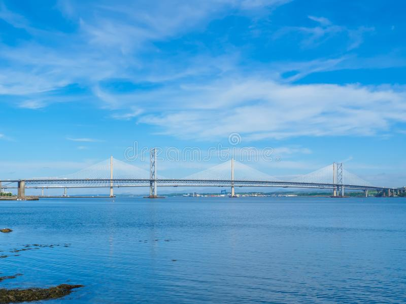 View of the Queensferry Crossing bridges over the Firth of Forth, Edinburgh, Scotland. stock photo