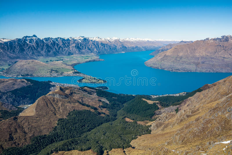 View of Queenstown and Lake Wakatipu, New Zealand royalty free stock image