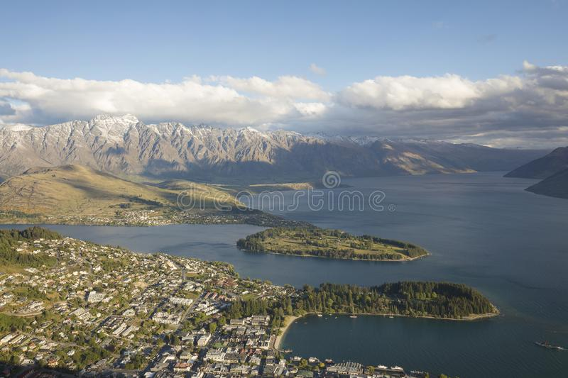 View of Queenstown and Lake Wakatipu, New Zealand royalty free stock photo