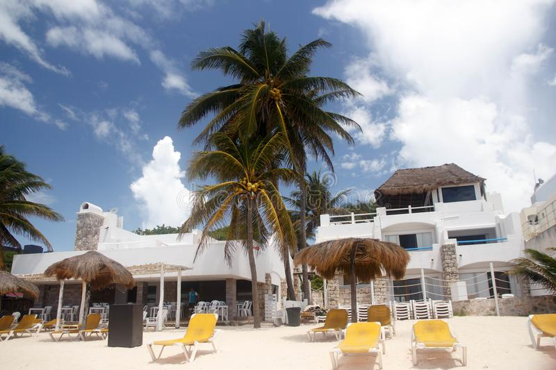 View of a quiet terrace in Playa del Carmen beach, Mexico royalty free stock photo