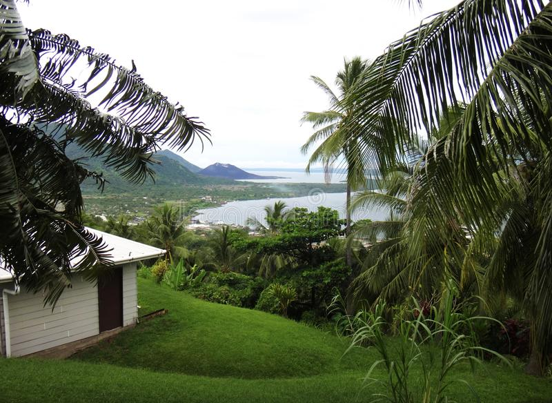View of Rabaul and Simpson Harbour from Volcano Observatory Look. Out, Papua New Guinea royalty free stock images