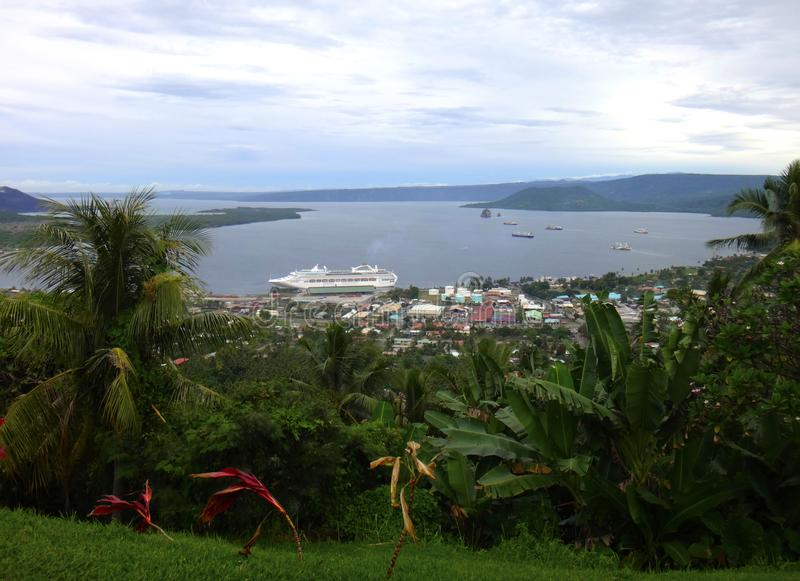 View of Rabaul and Simpson Harbour from Volcano Observatory Look. Out, Papua New Guinea royalty free stock image